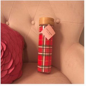Kate spade red christmas plaid glass hydration water bottle nwt